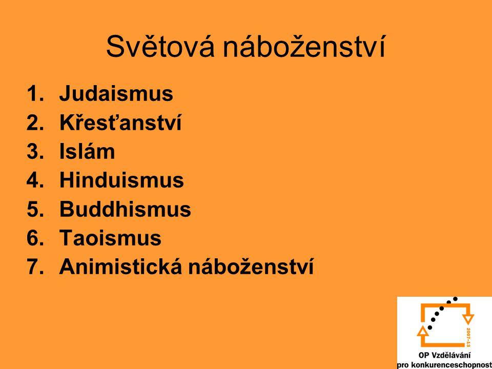 Světová náboženství Judaismus Křesťanství Islám Hinduismus Buddhismus
