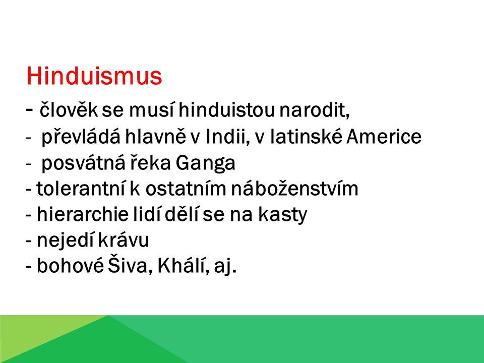- člověk se musí hinduistou narodit,