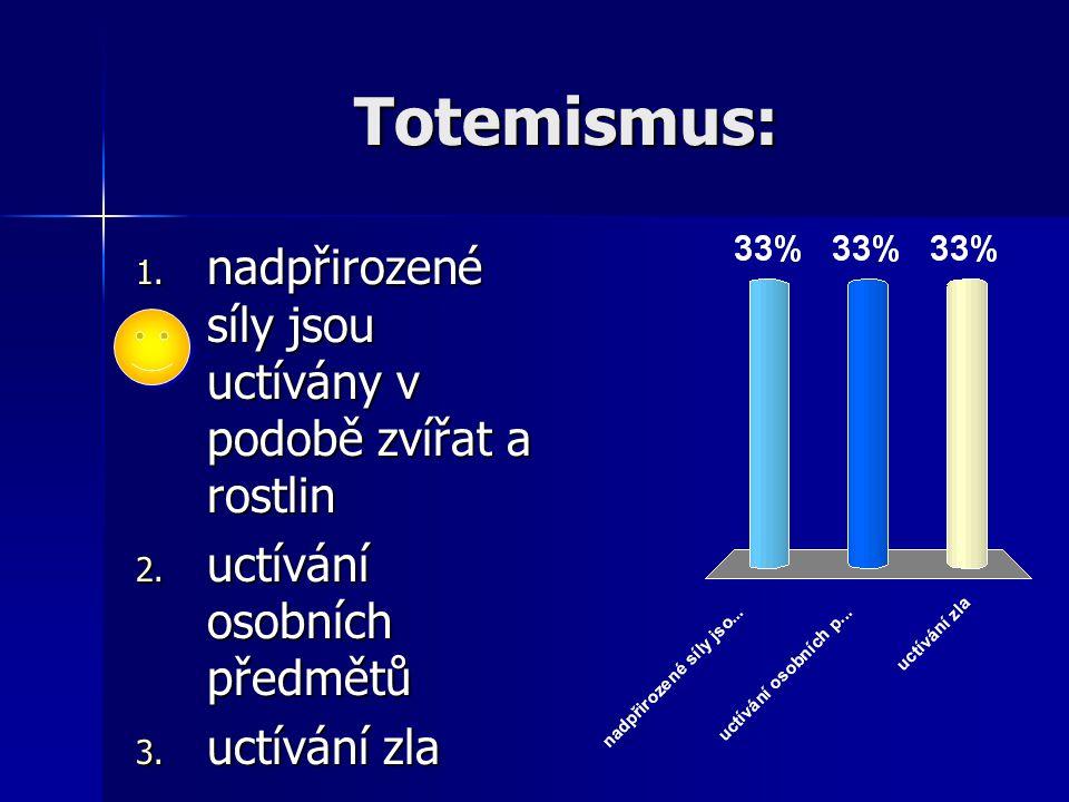 Totemismus: nadpřirozené síly jsou uctívány v podobě zvířat a rostlin