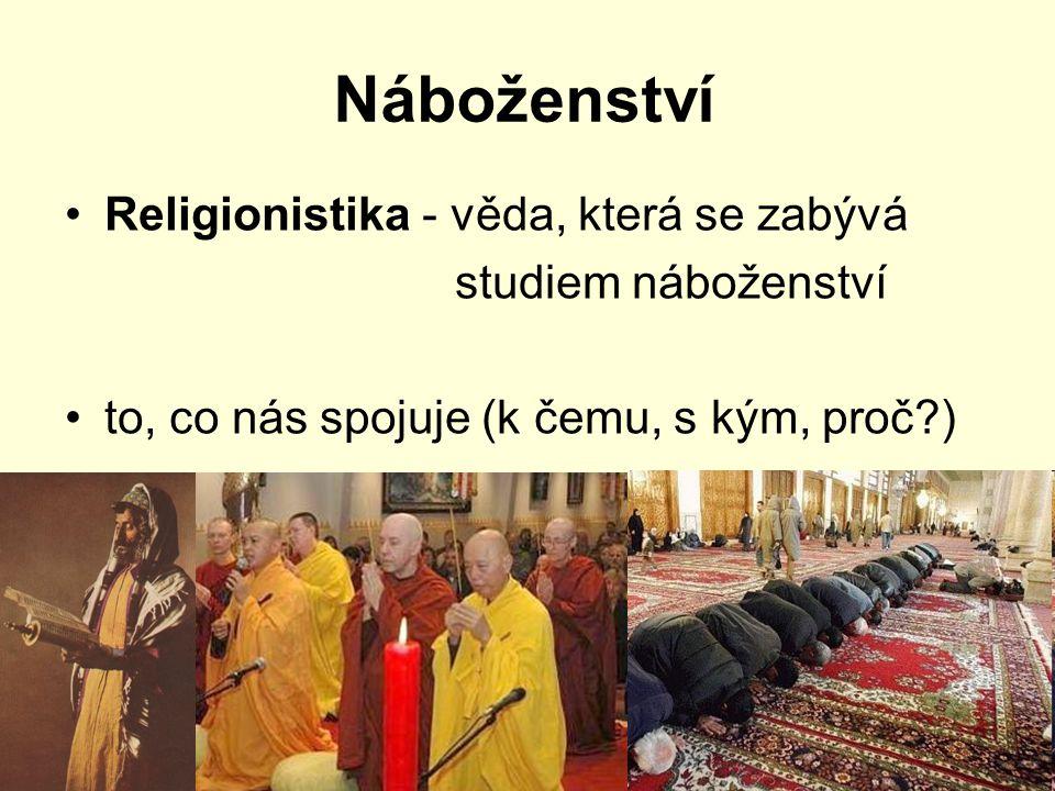 Náboženství Religionistika - věda, která se zabývá studiem náboženství