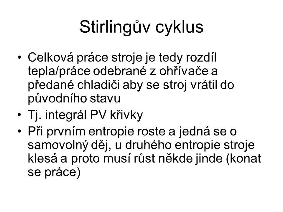 Stirlingův cyklus Celková práce stroje je tedy rozdíl tepla/práce odebrané z ohřívače a předané chladiči aby se stroj vrátil do původního stavu.
