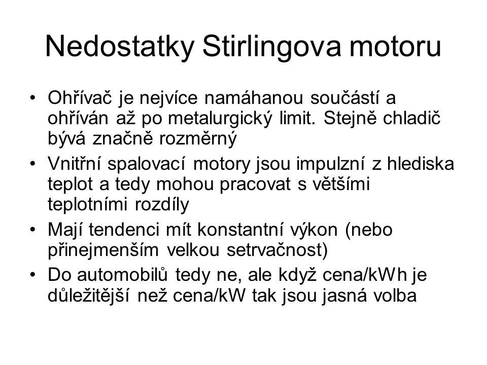 Nedostatky Stirlingova motoru