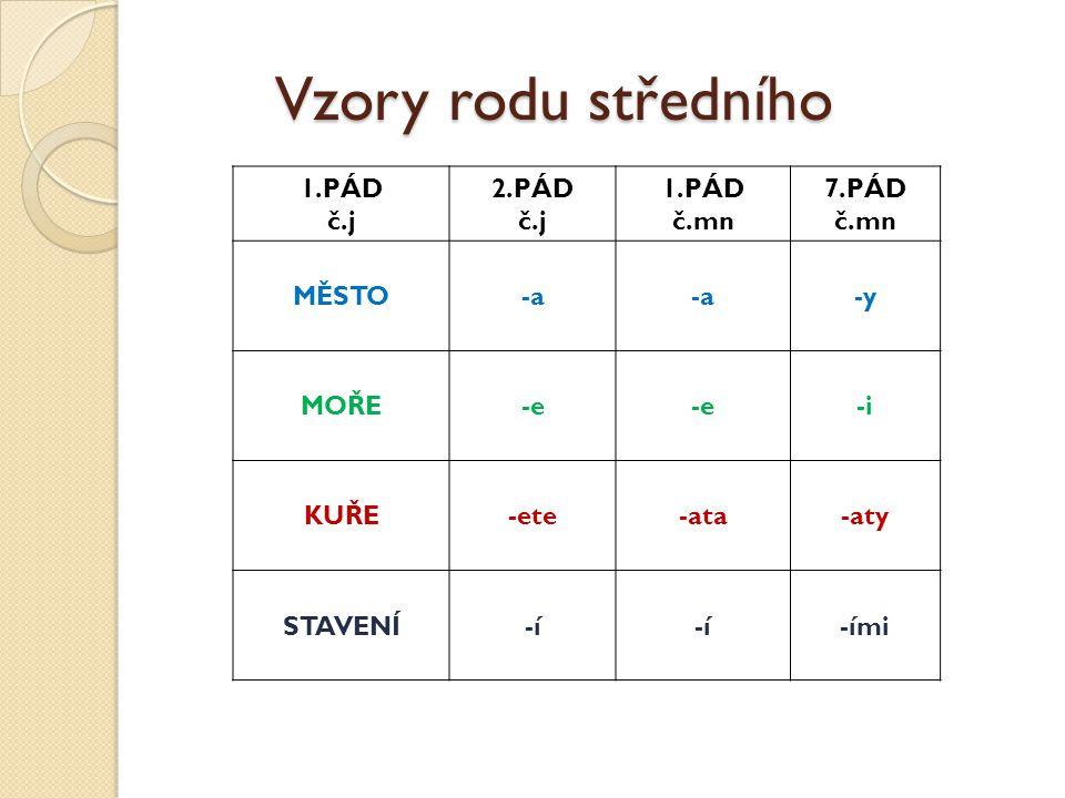 Vzory rodu středního 1.PÁD č.j 2.PÁD č.mn 7.PÁD MĚSTO -a -y MOŘE -e -i