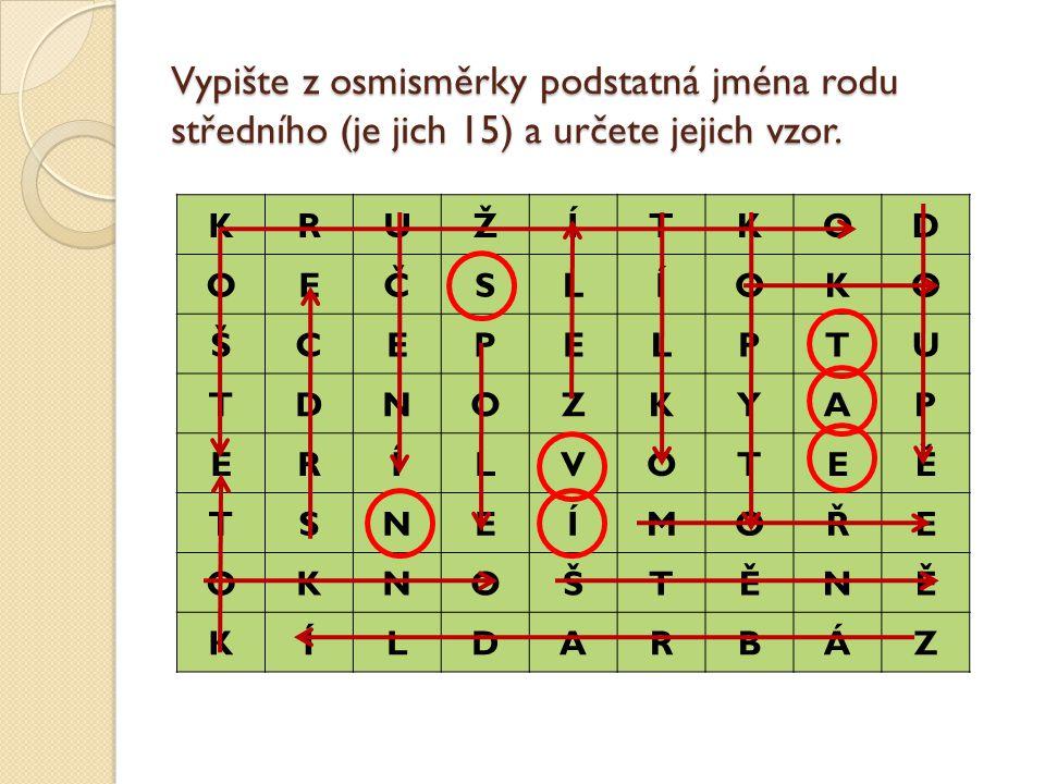 Vypište z osmisměrky podstatná jména rodu středního (je jich 15) a určete jejich vzor.