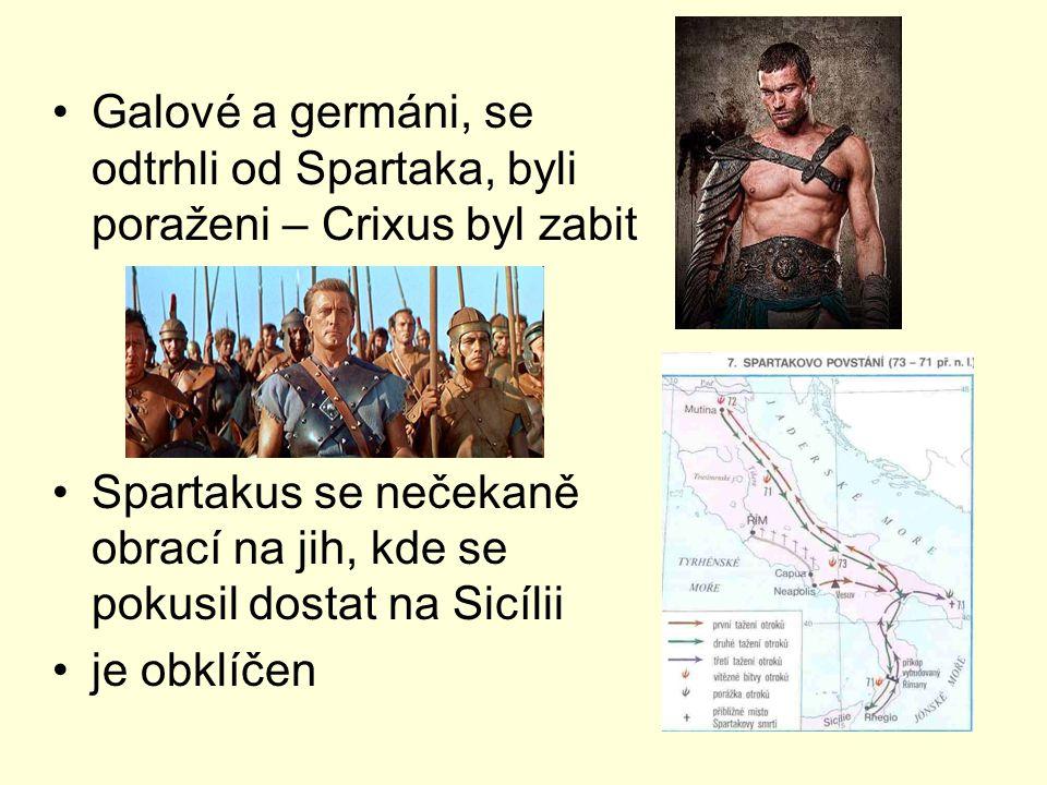 Galové a germáni, se odtrhli od Spartaka, byli poraženi – Crixus byl zabit