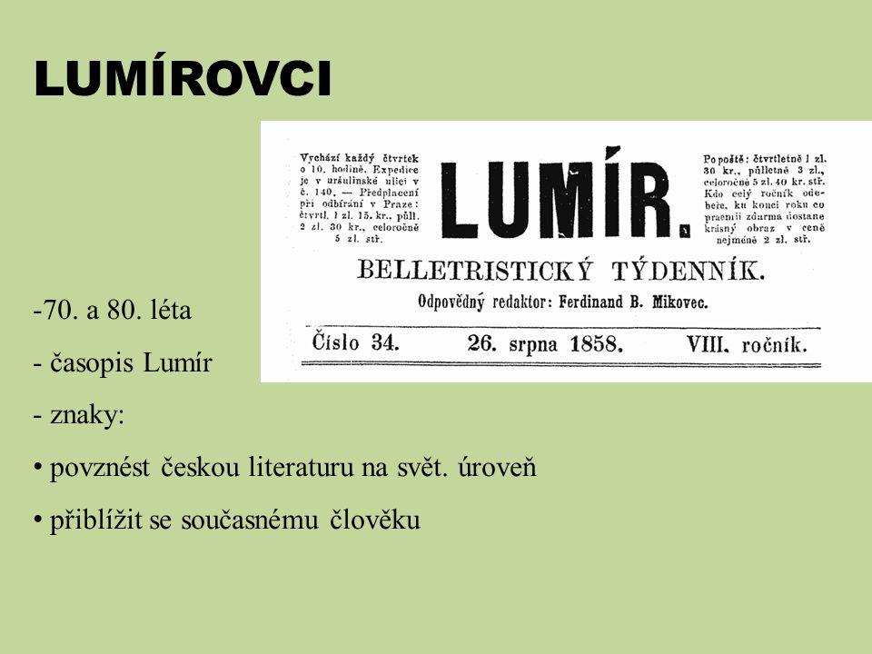 LUMÍROVCI 70. a 80. léta časopis Lumír znaky: