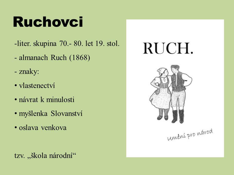 Ruchovci liter. skupina 70.- 80. let 19. stol. almanach Ruch (1868)