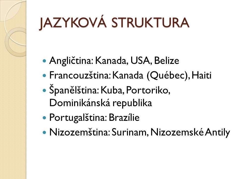 JAZYKOVÁ STRUKTURA Angličtina: Kanada, USA, Belize