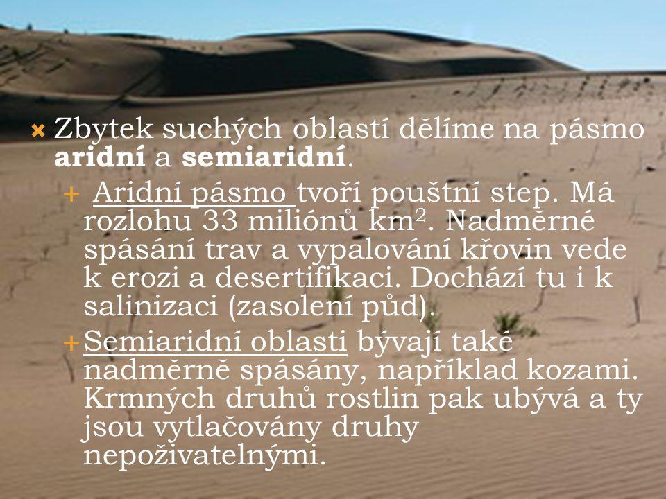Zbytek suchých oblastí dělíme na pásmo aridní a semiaridní.
