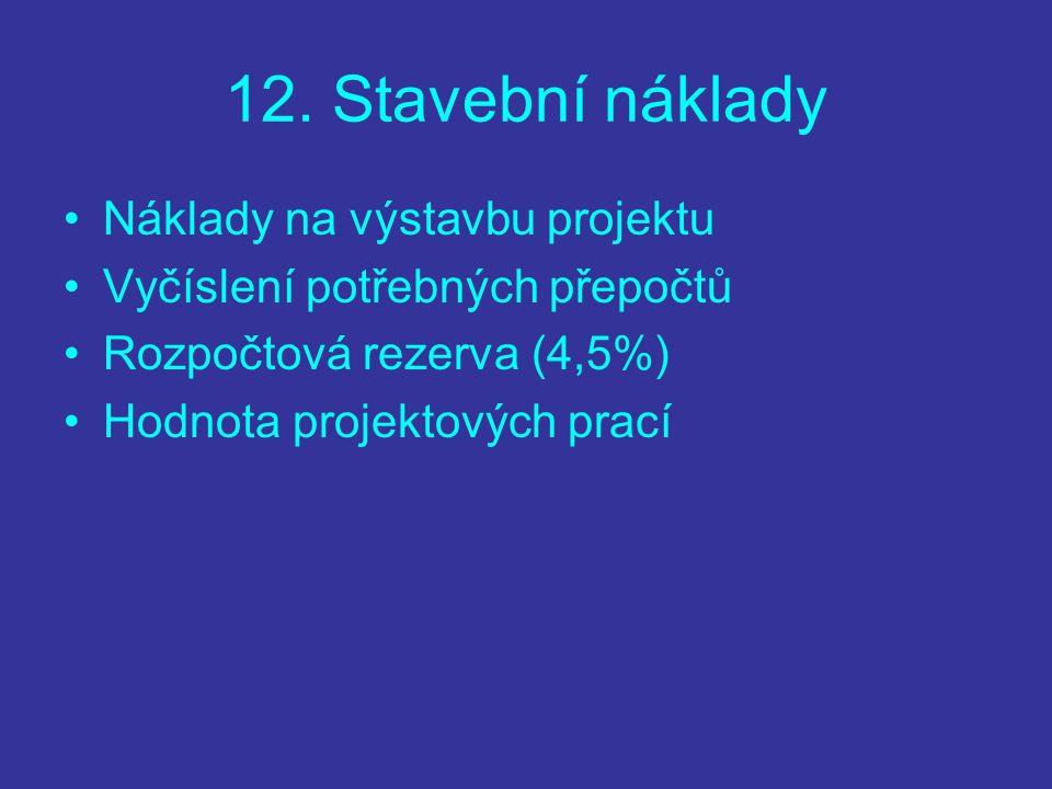 12. Stavební náklady Náklady na výstavbu projektu