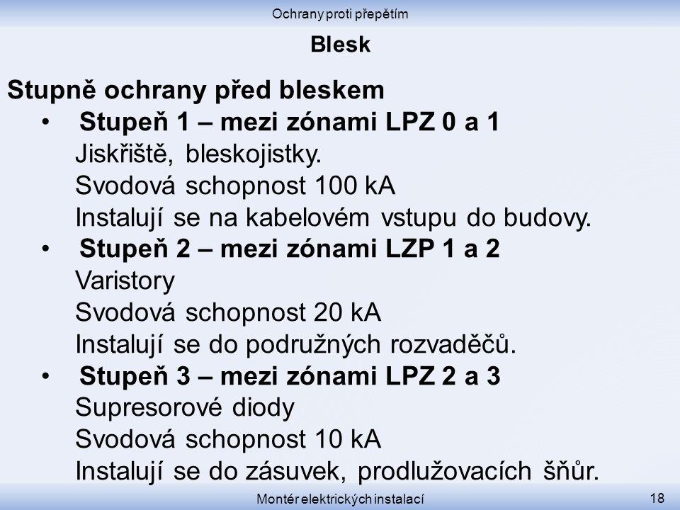 Stupně ochrany před bleskem Stupeň 1 – mezi zónami LPZ 0 a 1