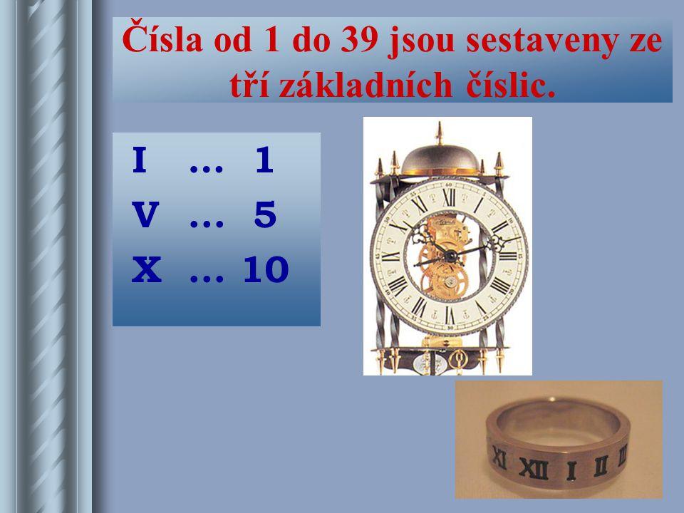 Čísla od 1 do 39 jsou sestaveny ze tří základních číslic.