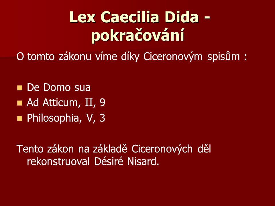 Lex Caecilia Dida - pokračování