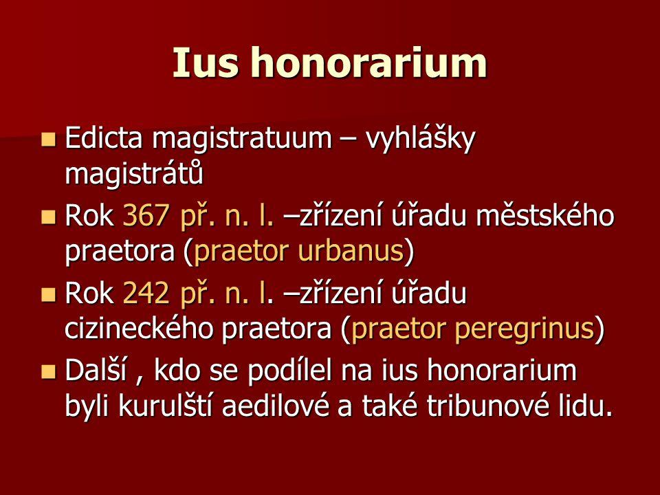 Ius honorarium Edicta magistratuum – vyhlášky magistrátů