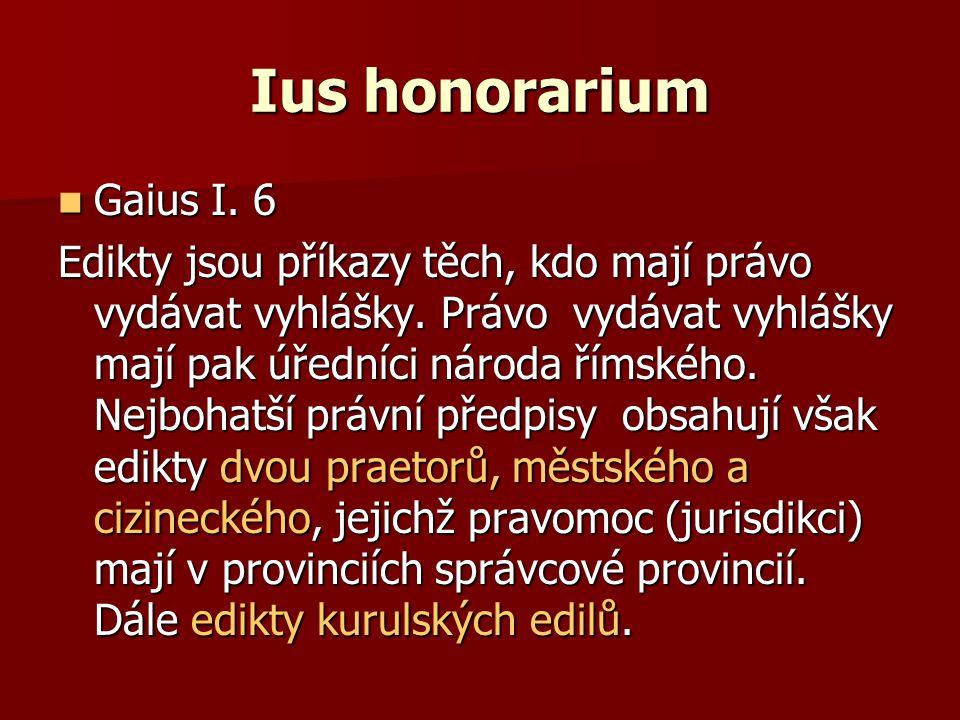Ius honorarium Gaius I. 6.