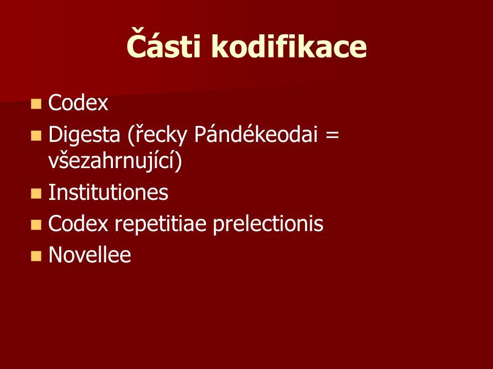 Části kodifikace Codex Digesta (řecky Pándékeodai = všezahrnující)