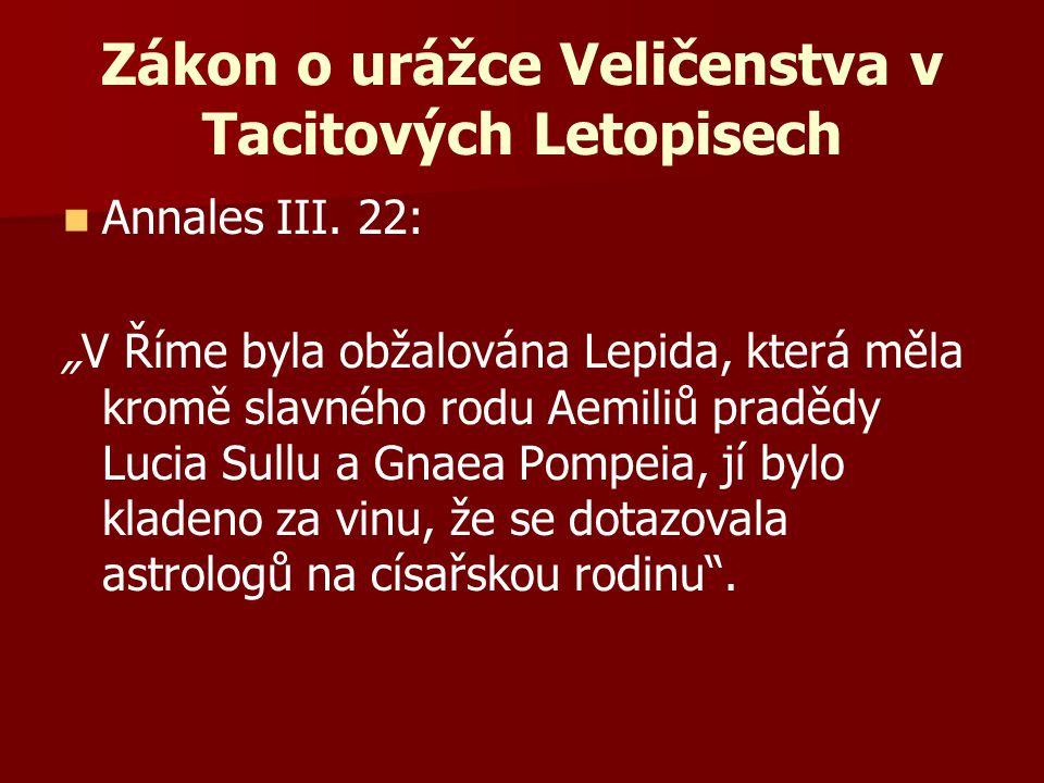 Zákon o urážce Veličenstva v Tacitových Letopisech