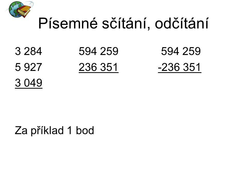 Písemné sčítání, odčítání
