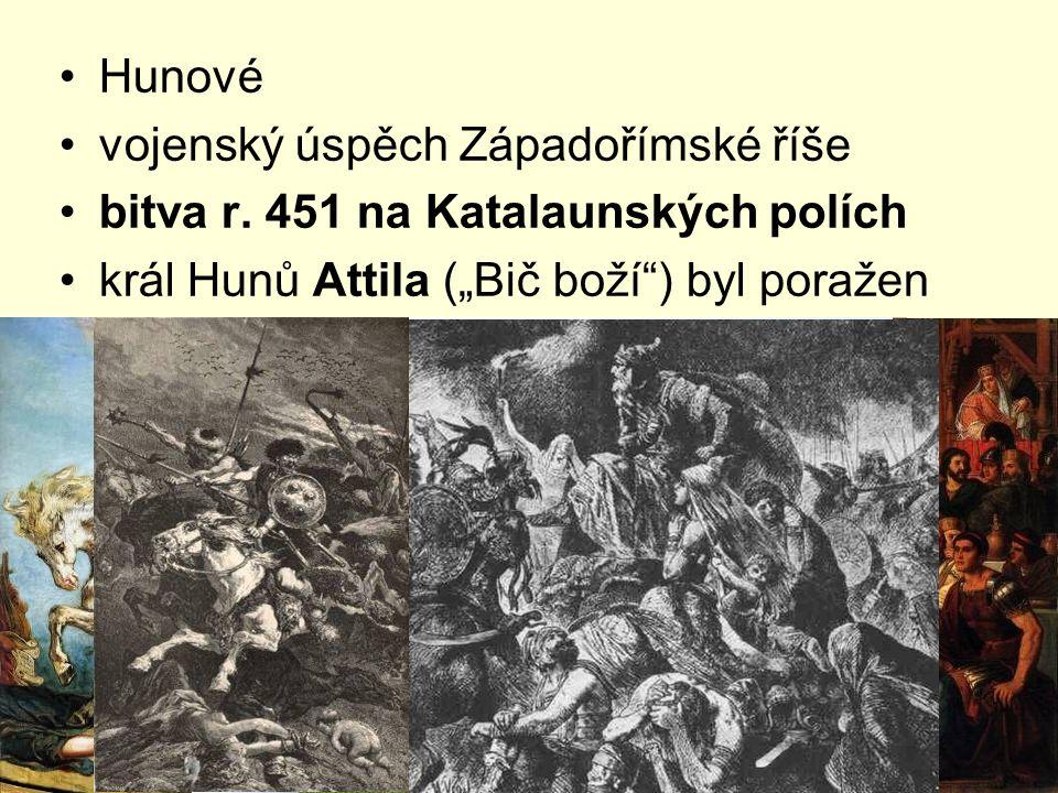 Hunové vojenský úspěch Západořímské říše. bitva r.