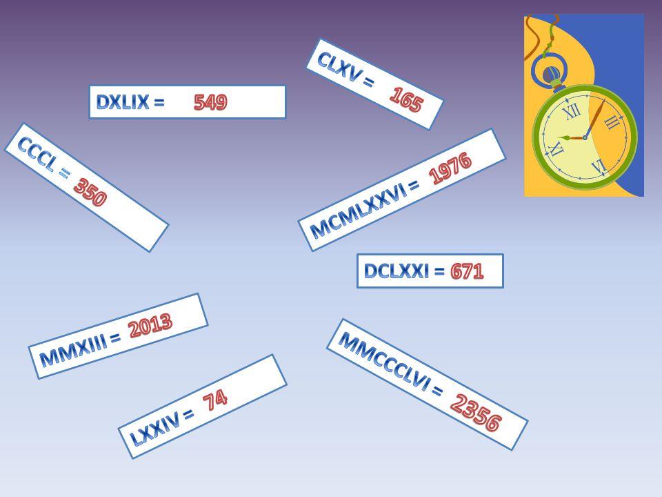 2356 CLXV = DXLIX = 549 165 1976 CCCL = MCMLXXVI = 350 DCLXXI = 671
