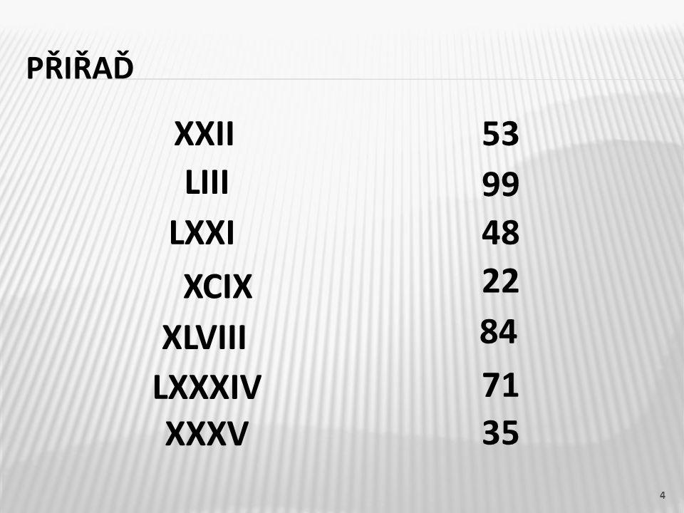 XXII 53 LIII 99 LXXI 48 22 XCIX 84 XLVIII LXXXIV 71 XXXV 35
