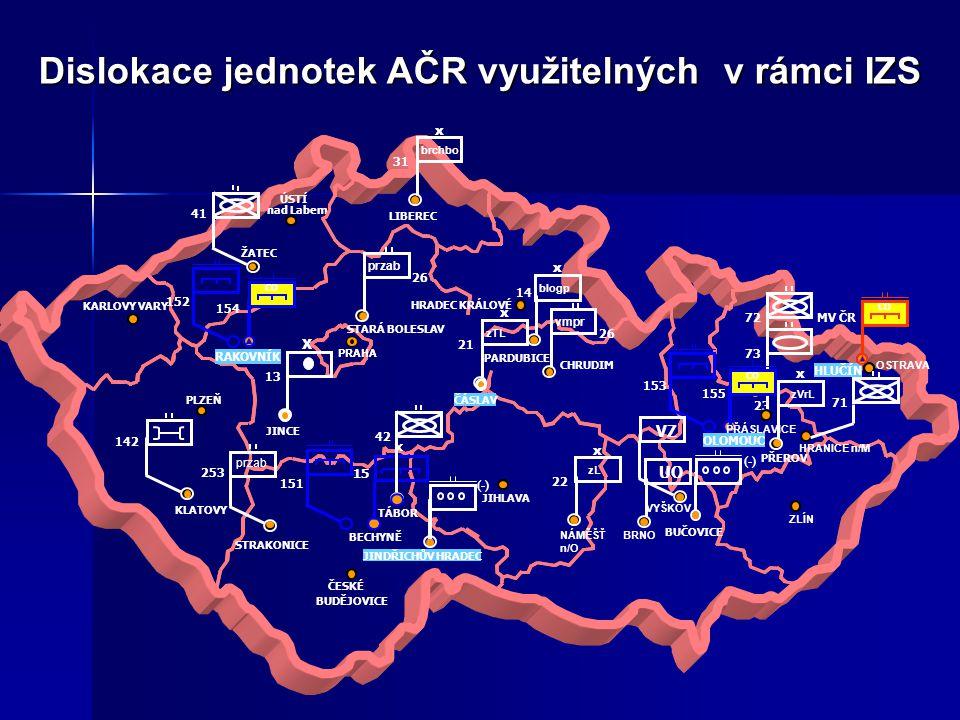 Dislokace jednotek AČR využitelných v rámci IZS