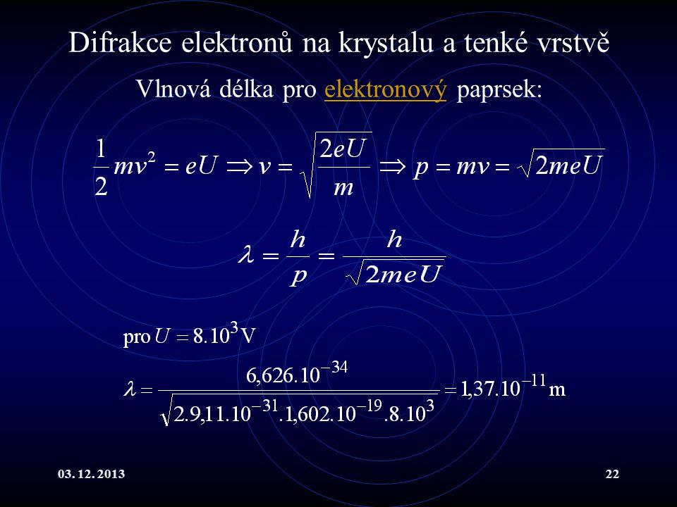 Vlnová délka pro elektronový paprsek: