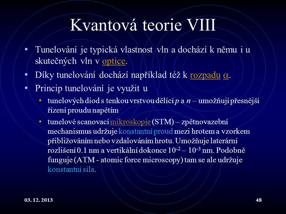 Kvantová teorie VIII Tunelování je typická vlastnost vln a dochází k němu i u skutečných vln v optice.