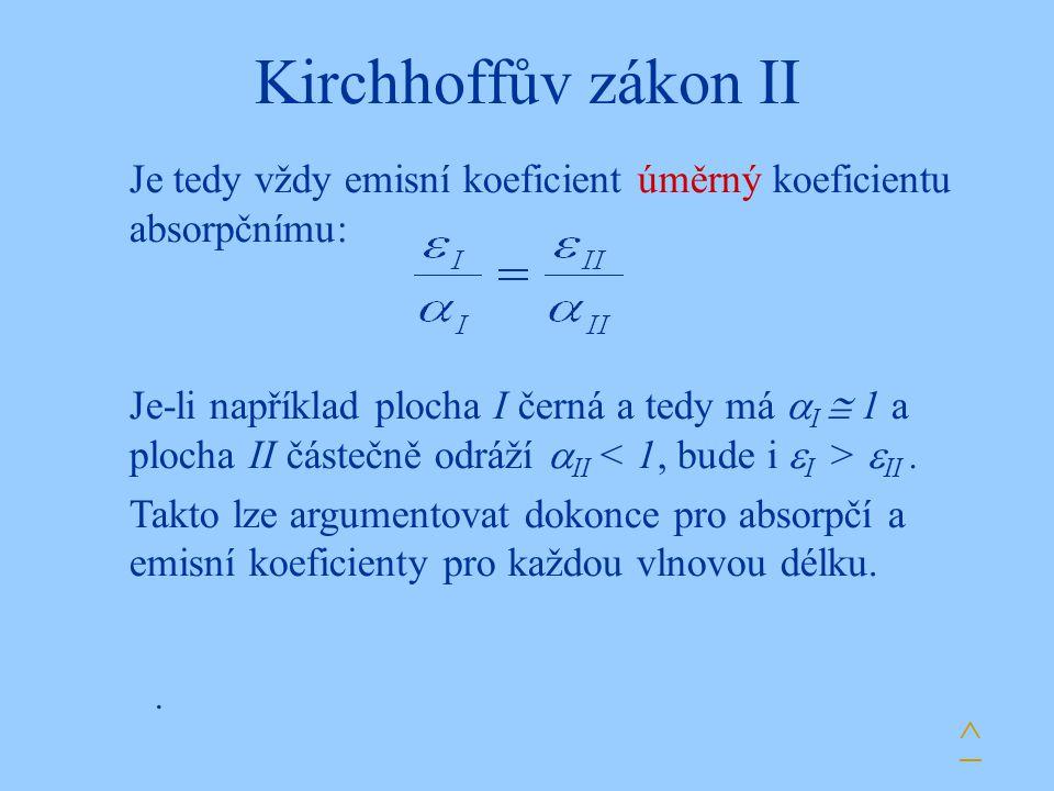 Kirchhoffův zákon II Je tedy vždy emisní koeficient úměrný koeficientu absorpčnímu: