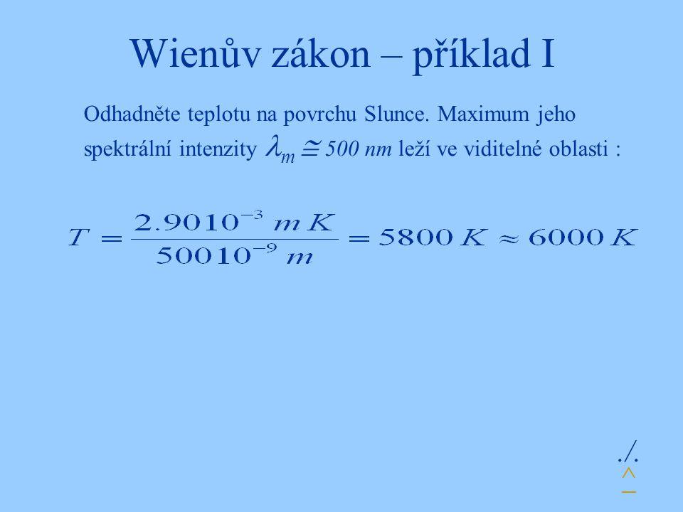 Wienův zákon – příklad I