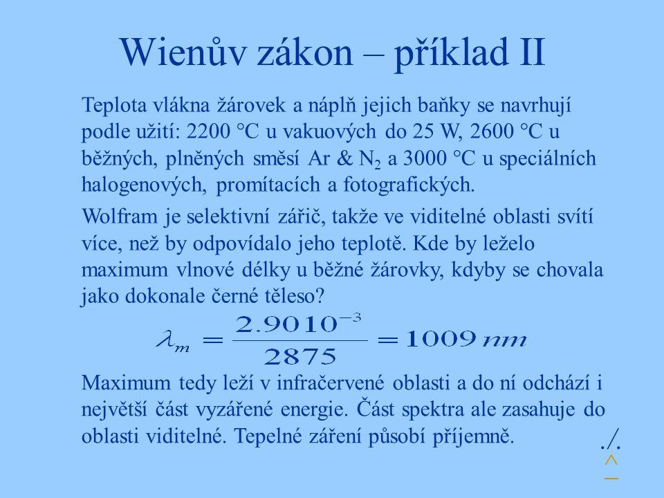 Wienův zákon – příklad II
