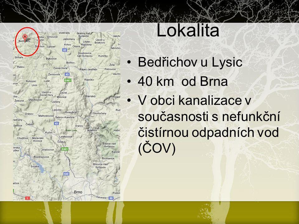 Lokalita Bedřichov u Lysic 40 km od Brna