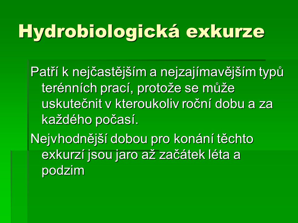 Hydrobiologická exkurze