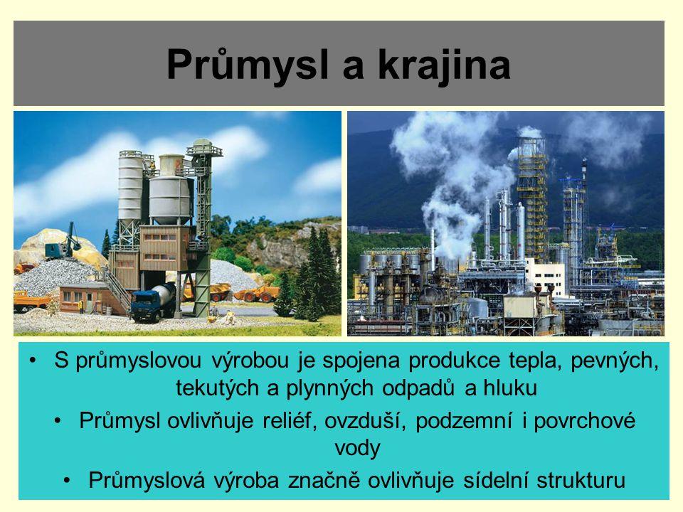 Průmysl a krajina S průmyslovou výrobou je spojena produkce tepla, pevných, tekutých a plynných odpadů a hluku.