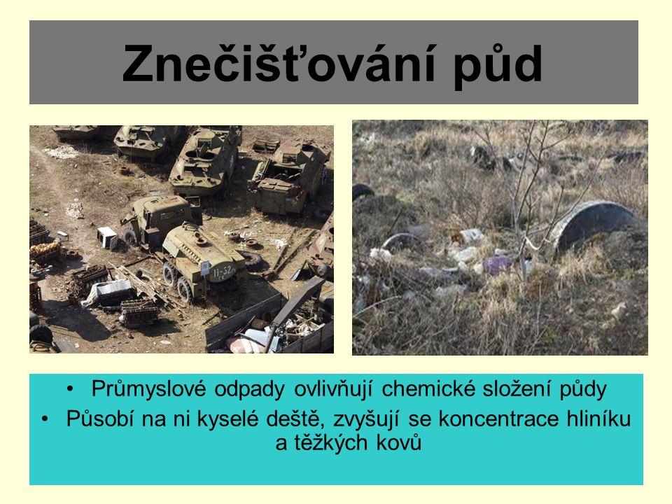 Průmyslové odpady ovlivňují chemické složení půdy