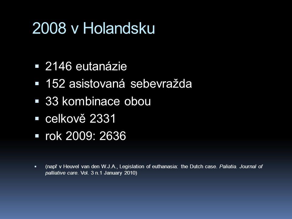 2008 v Holandsku 2146 eutanázie 152 asistovaná sebevražda