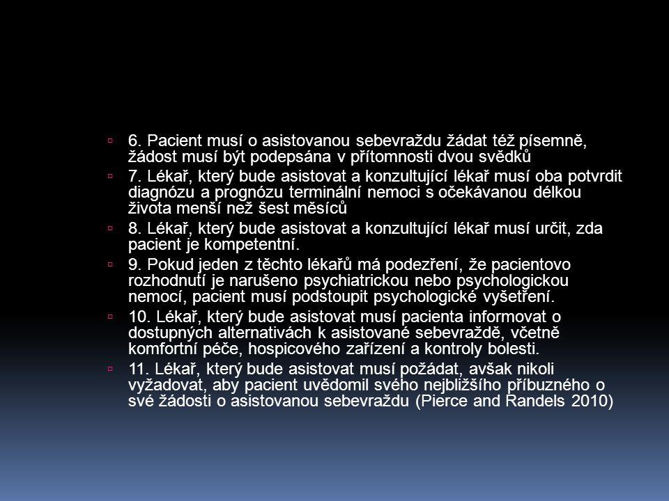 6. Pacient musí o asistovanou sebevraždu žádat též písemně, žádost musí být podepsána v přítomnosti dvou svědků