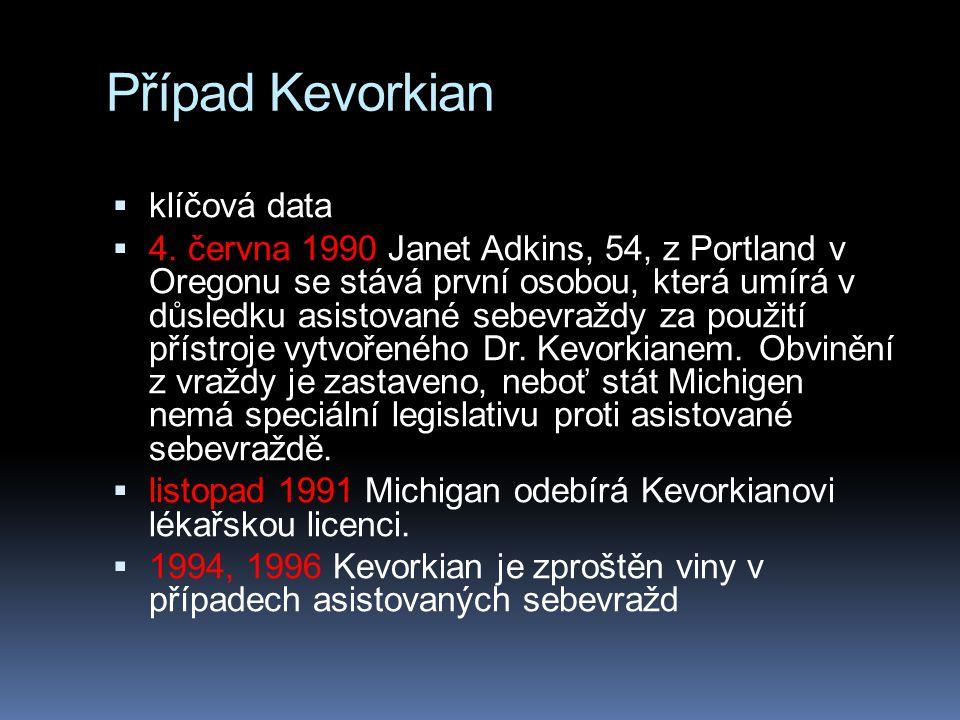 Případ Kevorkian klíčová data