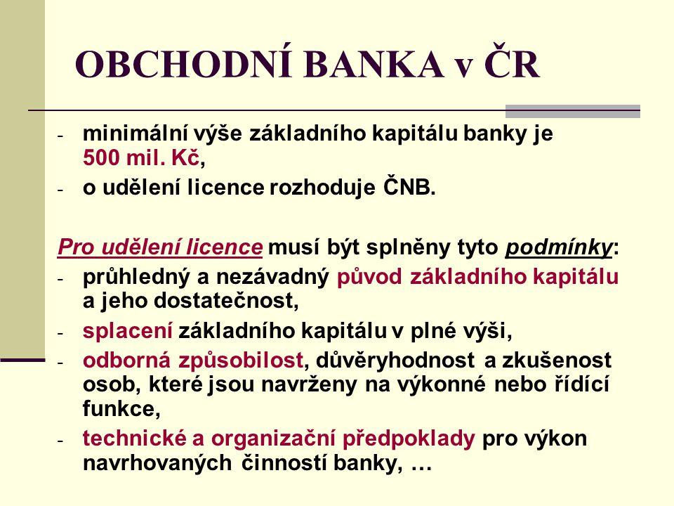 OBCHODNÍ BANKA v ČR minimální výše základního kapitálu banky je 500 mil. Kč, o udělení licence rozhoduje ČNB.