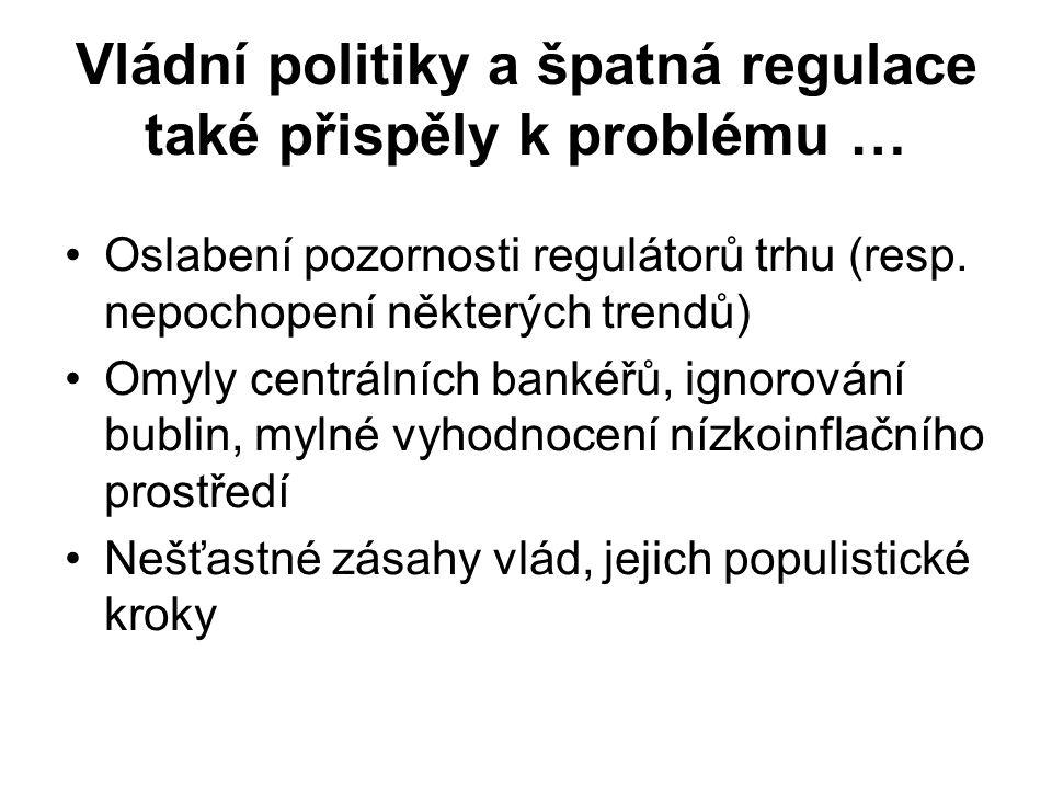 Vládní politiky a špatná regulace také přispěly k problému …