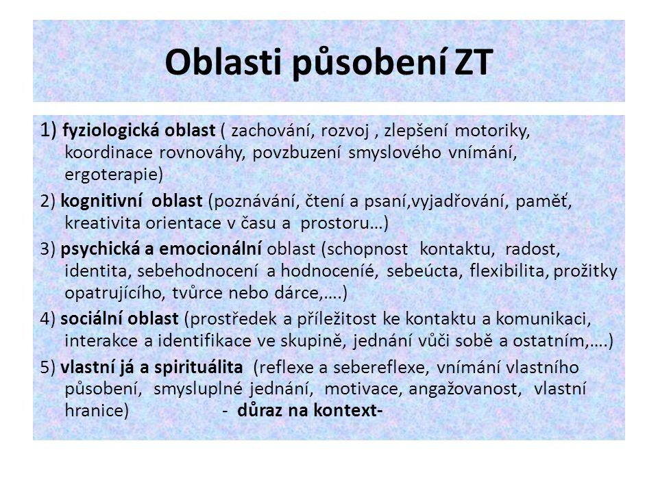 Oblasti působení ZT 1) fyziologická oblast ( zachování, rozvoj , zlepšení motoriky, koordinace rovnováhy, povzbuzení smyslového vnímání, ergoterapie)