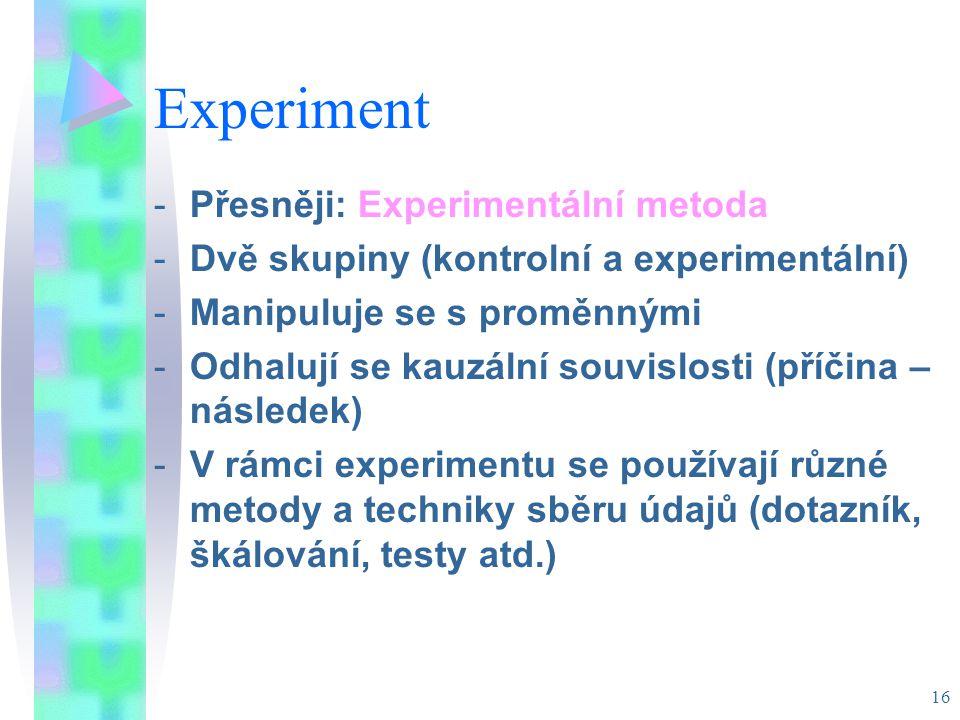 Experiment Přesněji: Experimentální metoda
