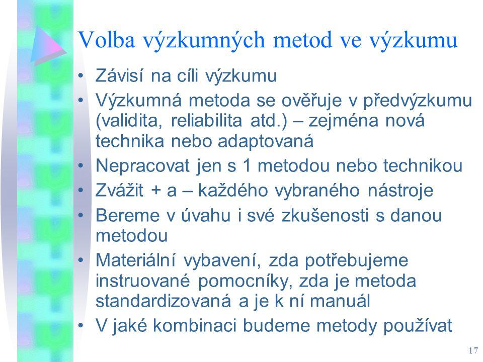 Volba výzkumných metod ve výzkumu
