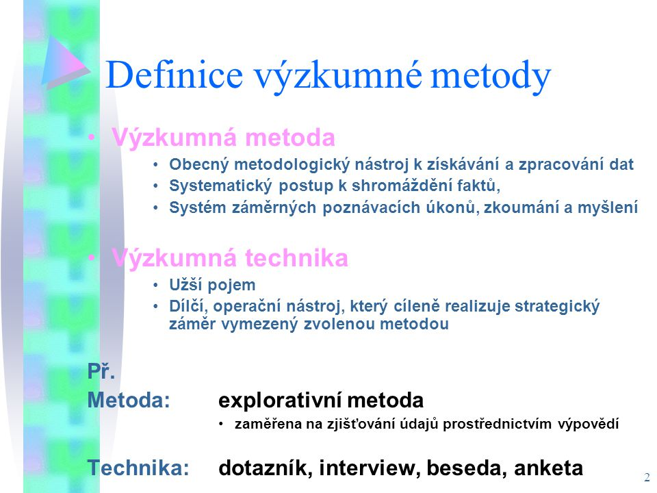 Definice výzkumné metody
