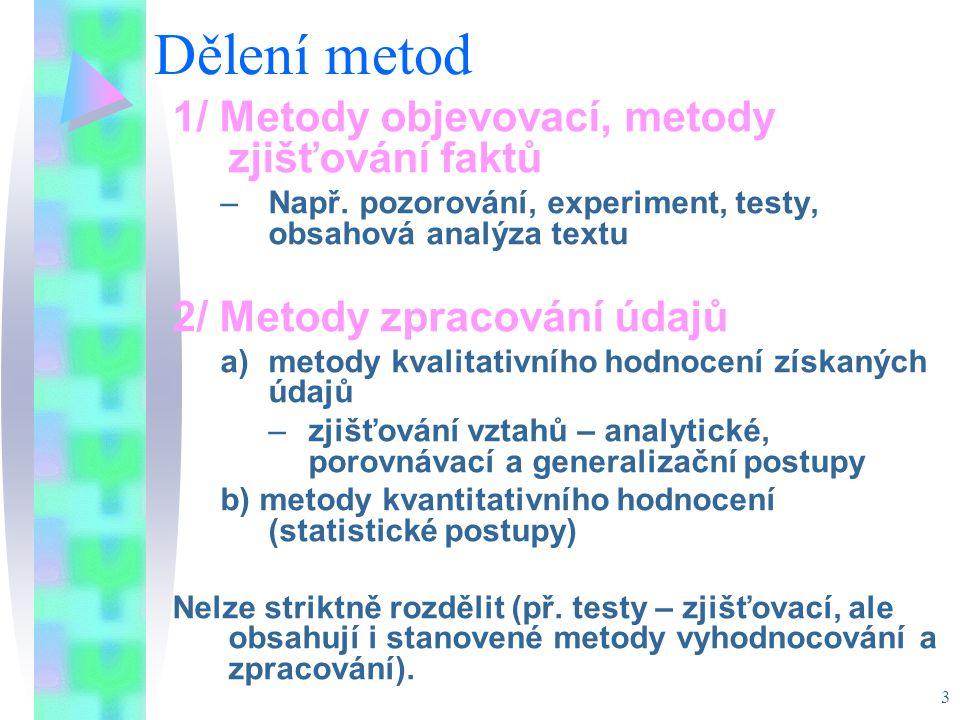 Dělení metod 1/ Metody objevovací, metody zjišťování faktů