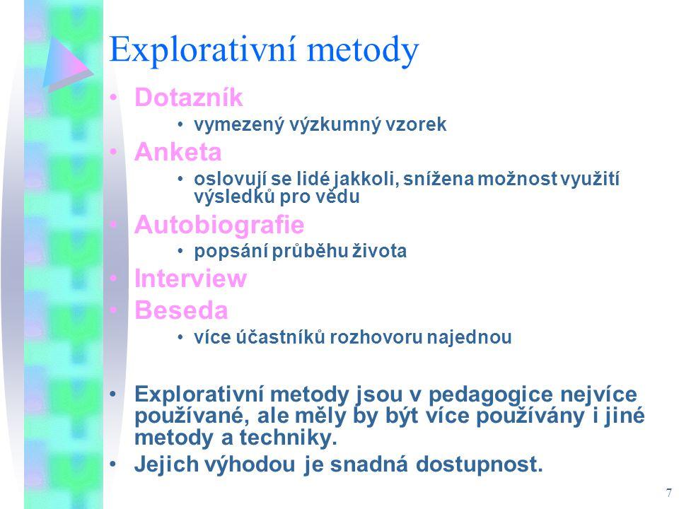 Explorativní metody Dotazník Anketa Autobiografie Interview Beseda