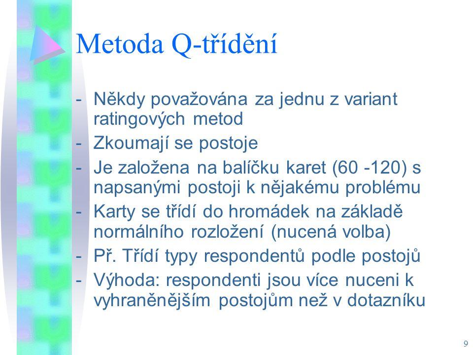 Metoda Q-třídění Někdy považována za jednu z variant ratingových metod