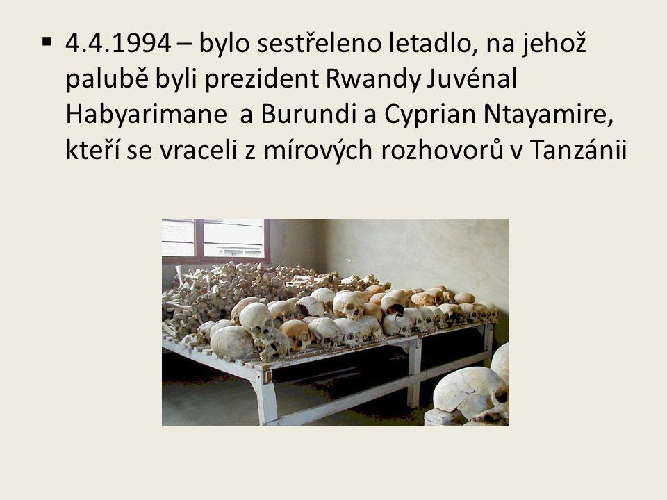 4.4.1994 – bylo sestřeleno letadlo, na jehož palubě byli prezident Rwandy Juvénal Habyarimane a Burundi a Cyprian Ntayamire, kteří se vraceli z mírových rozhovorů v Tanzánii