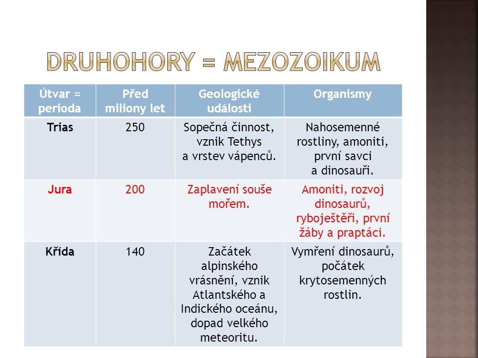 Druhohory = mezozoikum
