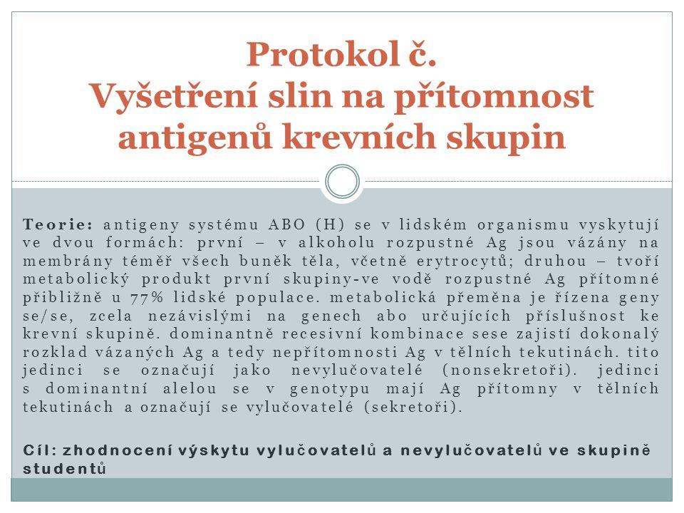 Protokol č. Vyšetření slin na přítomnost antigenů krevních skupin